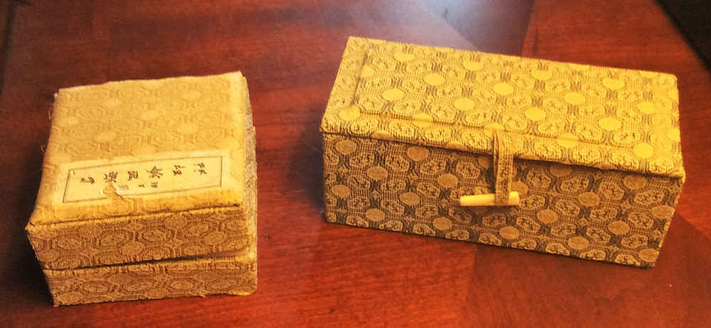 My custom chop set came in small silk covered boxes