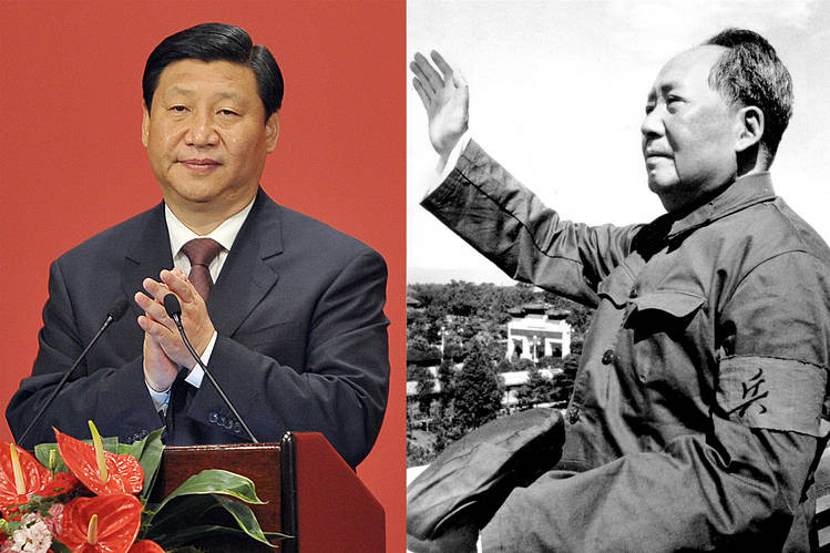 Chinese Communist Party leaders President Xi (left), and Mao Zedong