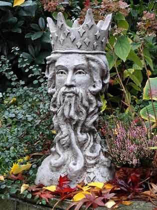 Planzkopf; König; FS2100; Vidroflor; Steinguss; Skulptur; by Fiona Scott; bepflanzbarer Kopf; Gartengefäß; Galarosa