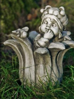 Sprössling; Biene; Vidroflor; Steinguss; frostfest; 114432; Gartenfigur; Blüte mit Biene; Galarosa; Gartendeko