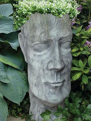 Pflanzgefäß Mann; Steinguss; Antik; grau; Vidroflor; 11500; Pflanzkopf; Pflanzgesicht; Pflanzgefäß; Gartengefäß; Blumentopf