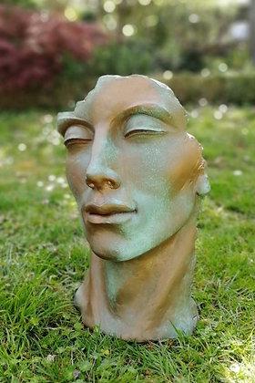 Vidroflor; Gesicht Mann; klein; Kupfereffekt; Steinguss; 116500K; Kopf; Kultur