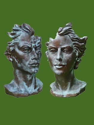 Gesichter Mann und Frau mittel - Farbe Bronze Optik