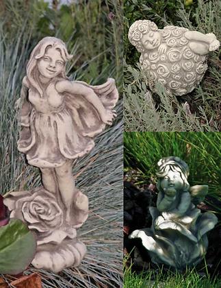 Sprösslinge; Steinguss; Vidroflor; 114449; 114436; 114451; Rosenmädchen; Sprossrosi; Rosenkugel; Blumenfeen; Blumenelfen