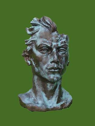 Männerkopf; Skulptur; Vidroflor; Galarosa; Gesicht; Mann; mittel; Bronze Effekt; Steinguss; Gartenfigur; Dekoration