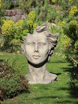 Gesicht Frau; Steinguss; mittel; Antik; Vidroflor; 116551; Haare; Kopf; modern; Galarosa; Skulptur; Gartenfigur; Gartendeko