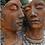 Gesichter Mann und Frau; Gesichterpaar; Farbe Edition Oxid; Vidroflor; Platte; Steinguss; 8081EO; 8082EO; Steinguss