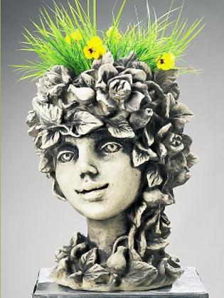 Blütentopf Wildröslein; Zauberblume; Galarosa; 24-60026; Steinguss; Betonguss; Steinfigur; besonderer Blumentopf; Blütenkopf