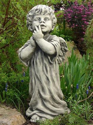 Engel Zechiel; Steinguss; Vidroflor; 114970; Antik; Schutzengel; Grabengel; stehend; Michael; Raphael