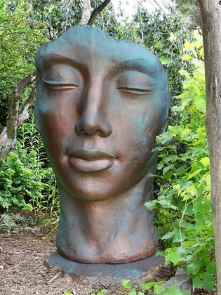 Gesicht Frau; gross; groß; Vidroflor; Kupfer Effekt; 8082K; Steinguss; Kupferstil; Kupfer Optik; Galarosa; Gartenfigur; Deko