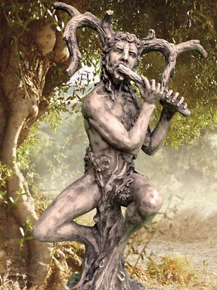 Baumhüter; Eiche; Steinguss; Antik; Vidroflor; 116403; Flötenspieler; Gartenfigur; Baumfigur; Galarosa; Deko; Skulptur