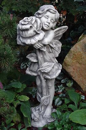 Gartenfee; Gartenelfe; Rose; Vidroflor; Flower Fairy; Steinguss; 8030; Galarosa; Gartenfigur; Skulptur; Gartendekoration