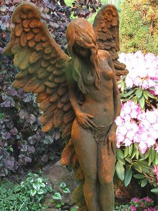 Engel Shekinah; Vidroflor; Steinguss; Engelfrau stehend; 8086EO; Edition Oxid; Ramona; die weise Beschützerin; Galarosa