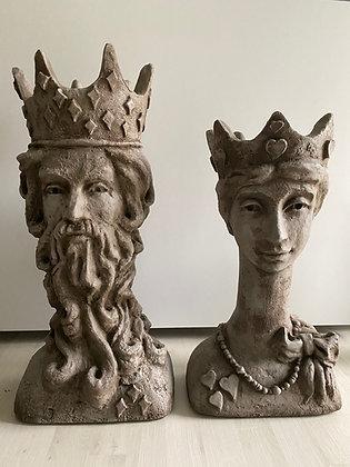 Pflanzköpfe; König und Königin; Königspaar; Vidroflor; FS2100; FS2101; außergewöhnliche Pflanzgefäße; Steinguss; Galarosa