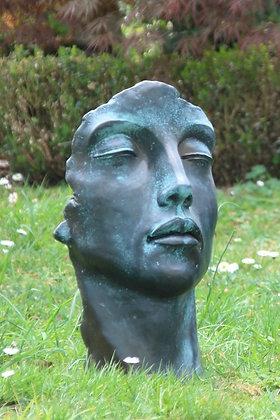 Gesicht Frau klein; Bronze Effekt; Vidroflor; 116501BR; Steinguss; Kopf; Galarosa; Skulptur; Gartenfigur; Dekoration
