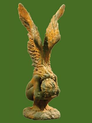 Engel Rachel; groß; Hockende Engelfrau mit Flügeln; Vidroflor; Steinguss; Rosteffekt; 8087R; Skulptur; Gartenfigur