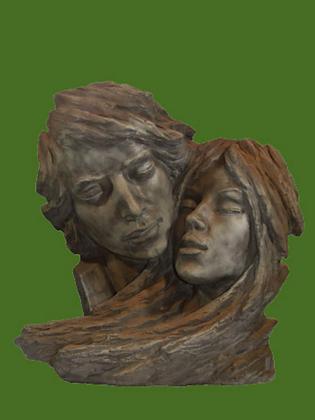 Gesichterpaar; Rosteffekt; 8083R; Vidroflor; Köpfe; Mann und Frau; Skulptur; Gartenfiguren; Galarosa; Steinguss