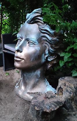 Galarosa; Steinguss; Steinfigur; Gartenfigur; Skulptur; Gesicht; Frau; mittel; Bronzefarben; Bronze Optik; Bronze Effekt