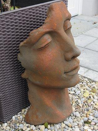 Gesicht Mann; klein; Steinguss; Edition Oxid; Vidroflor; 116500EO; Gartenskulptur; moderne Gartendeko; Galarosa