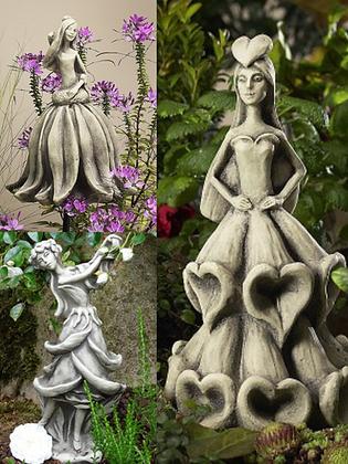 Zauberblume; Blütentänzerinnen; Rose; Sonnenhut; Fingerhut; Steinguss; Beton; frostfest; zum Stecken; Gartenfiguren; Deko