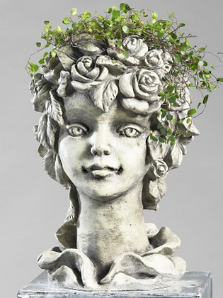 Blütentopf Rose; Zauberblume; Betonguss; Steinguss; frostfest; Blütenkopf; Topf zum Bepflanzen; Gartenskulptur; Pflanzkopf