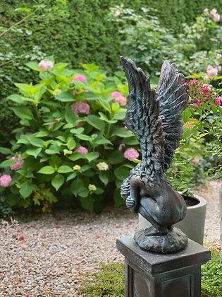 Rachel; Engel klein; Vidroflor; Galarosa; Steinguss; Bronze Effekt; Gartenfigur; Gedenkengel; Schutzengel; Gartenengel
