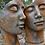 Gesichter Mann und Frau; gross; Farbe Rosteffekt; Platte; Steinguss; Vidroflor; 8081R; 8082R; im Set; Gesichterpaar; Galarosa