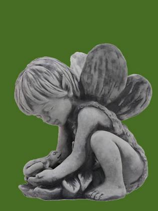 Elfenkind; Andin; kniend; mit sep. Frosch; Vidroflor; Steinguss; 114220; Gartenfigur; antik