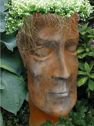 Pflanzkopf; Pflanzgesicht; Pflanzgefäß Mann; Vidroflor; Steinguss; Rosteffekt; 11500R; Blumenkopf; Blumengefäß; besonders