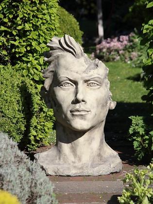 Gesicht Mann mittel; Galarosa; Vidroflor; Skulpturengarten; Gartenfigur; Schaugarten; Steinguss Antik; Skulptur
