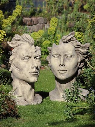 Gesichter; Gesicht Mann und Frau; Steinguss; mittel; antik; Vidroflor; modern; 116550; 116551; Haare
