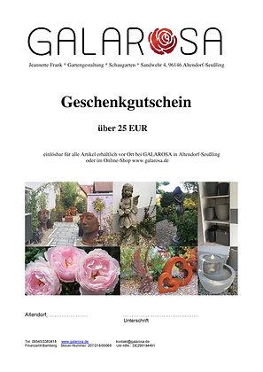Geschenkgutschein; Online-Shop; Galarosa; 25 EUR; tolles Geschenk; Auswahl vor Ort und online; außergewöhnliches Geschenk