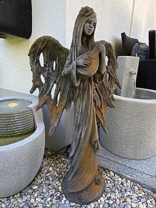 Zauberblume; Belief-Engel Dream; Steinguss; Betonguss; Rosteffekt; Engel mit Gitarre; 24-20502R; Galarosa; Steinfigur