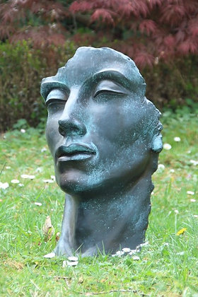 Gesicht Mann klein; Vidroflor; 116500BR; Steinguss; Bronze Effekt; Kopf; Bronzestil; frostfest; Skulpturengarten; Gartenfigur