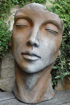 Gesicht Frau klein; Vidroflor; Farbe Rosteffekt; Steinguss; 116501R; Kopf; Galarosa; Skulptur; Gartenfigur; Dekoration