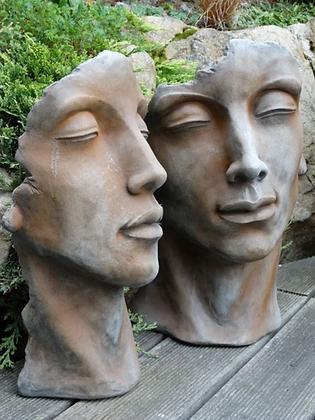 Gesicht; Gesichter Mann und Frau klein; Gesichterpaar; Rosteffekt; Steinguss; Vidroflor; 116500R; 116501R; antik