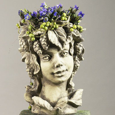 Blütentopf Hopfen; Zauberblume; Galarosa; 24-60024; Steinguss; Betonguss; Blütenkopf; Blumentopf; Kopf zum Bepflanzen; Deko
