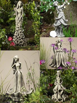 Blütentänzerinnen; Zauberblume; Akelei; Rose; Sonnenhut; Fingerhut; Rittersporn; Betonguss; Steinguss; Setpreis; Galarosa