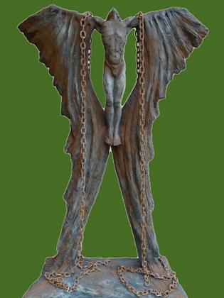Ikarus in Ketten; Vidroflor; 118200R-K; Rosteffekt; Steinguss; 118200