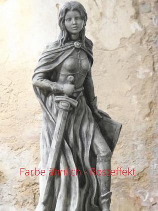 Jeanne d'Arc; Steinguss; 114525R; Vidroflor; Farbe Rosteffekt; Skulptur; Galarosa; Gartenfigur