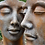 Vidroflor; Gesichterpaar; Gesicht; Mann; Frau; groß; Rosteffekt; Kultur; Steinguss; 8081; 8082
