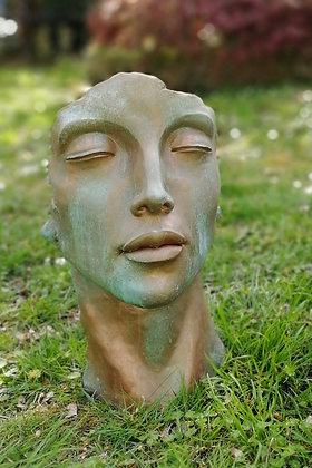 Gesicht Frau klein; Kupfer Effekt; Vidroflor; 116501K; Steinguss; Kopf; Kupferstil; Galarosa; Gartenfigur; Skulptur; Deko