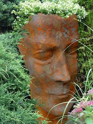 Pflanzgefäß Mann; Steinguss; Edition Oxid; Rost; Vidroflor; 11500EO; 11500; Pflanzkopf; Blumengefäß; besonderer Pflanztopf
