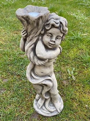 Engel Sophie; für Teelicht; Zauberblume; 24-15006; Steinguss; Betonguss; frostfest; Gartenfigur; Lichtdeko; Skulptur; Deko