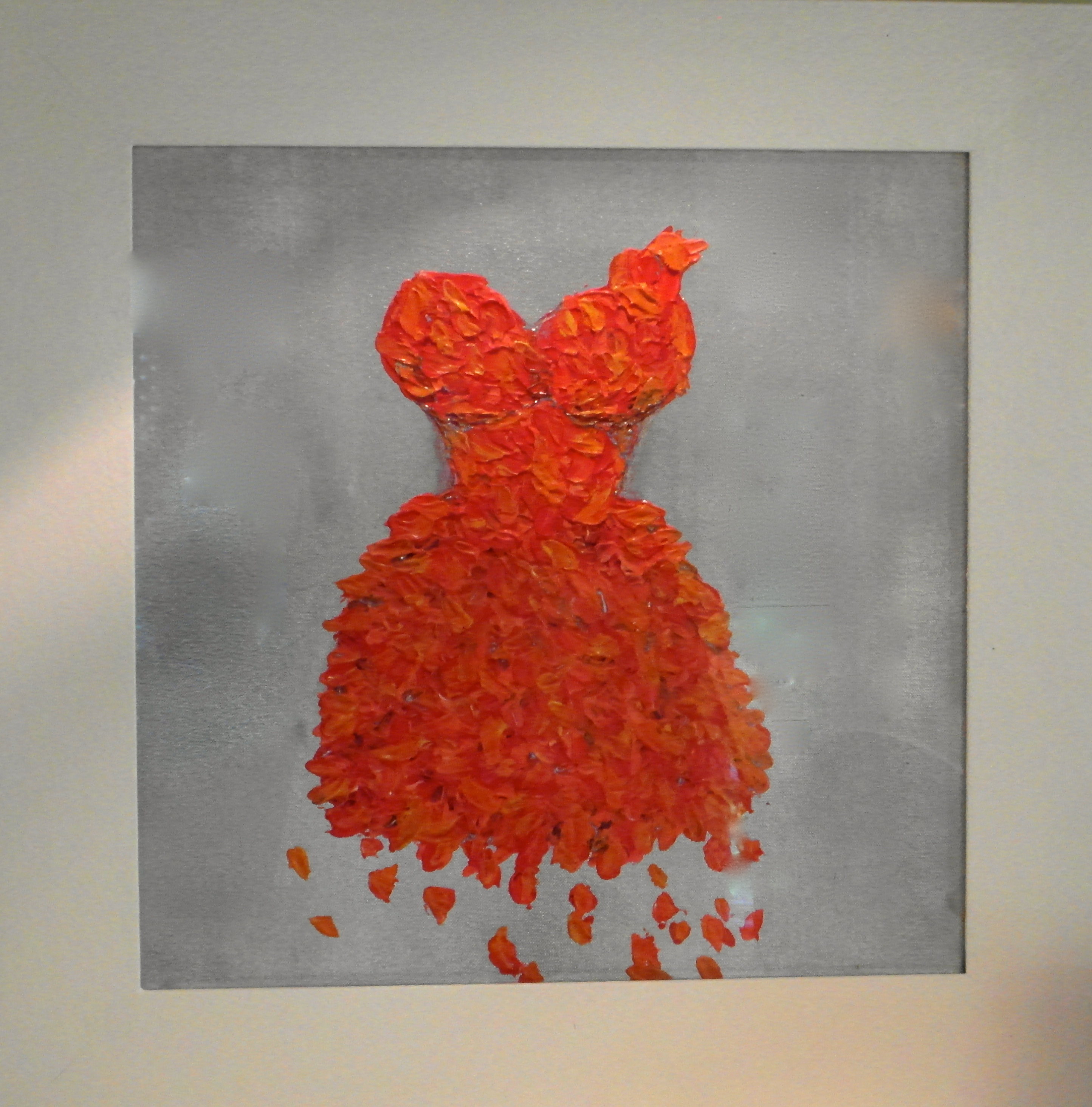 red dress painting petals floral art