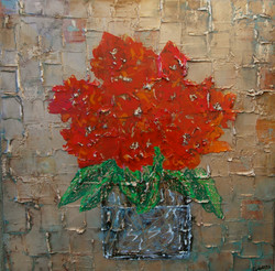 red flower painting with texture