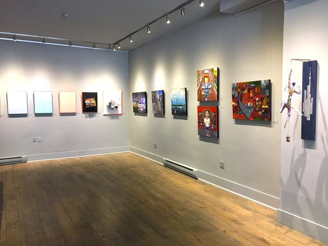 View of my six themed paintings on the right inset wall.