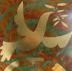 abstract gold leaf dove painting