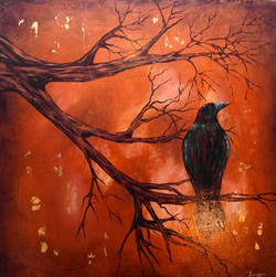 modern landscape painting crows tree