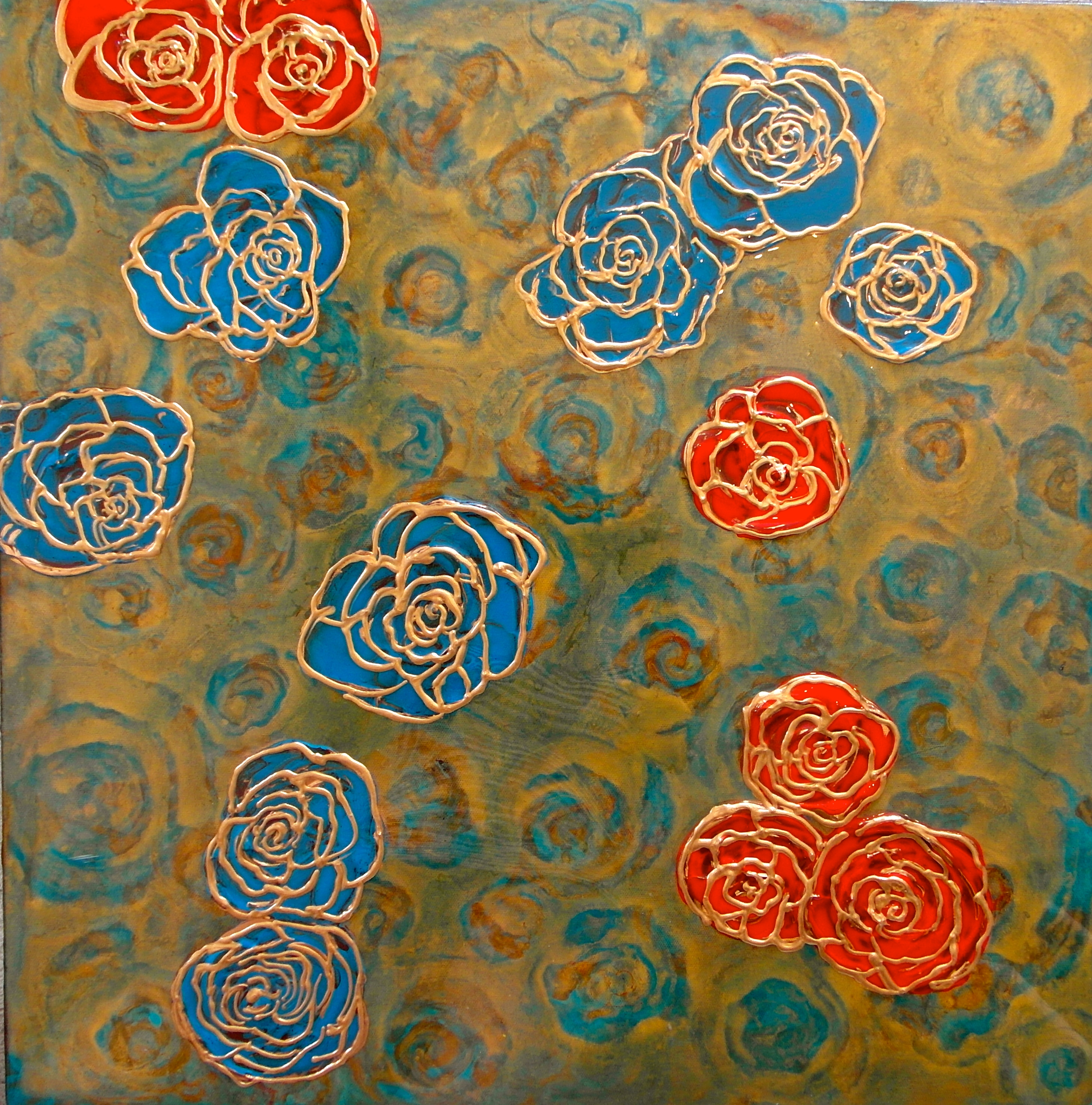 abstract floral painting roses red